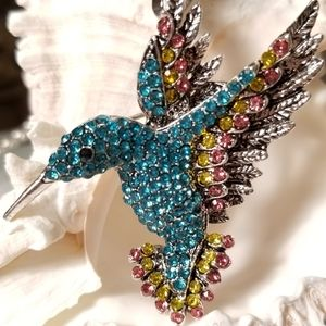 NWT - Blue Crystal Hummingbird Brooch Pendant